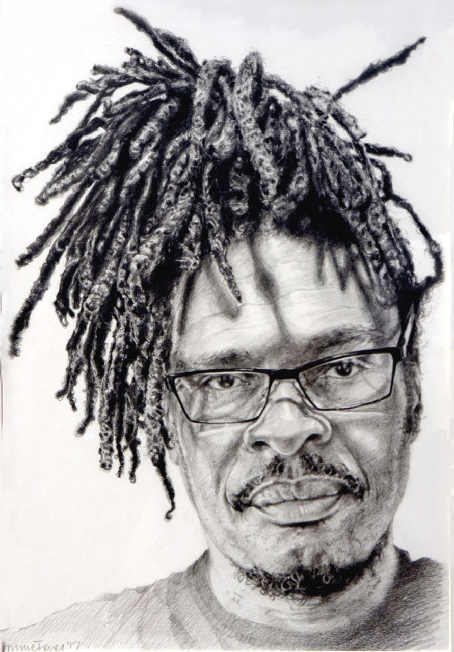 Pencil drawing of man with glasses