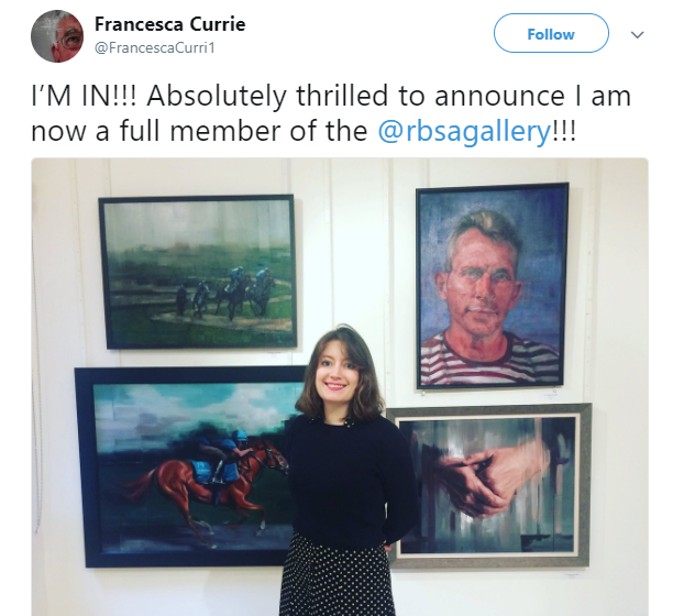 Francesca Currie on Twitter_ _I_M IN!!! Absolutely thrilled to announce I am now a full member of the @rbsagallery!!!… _