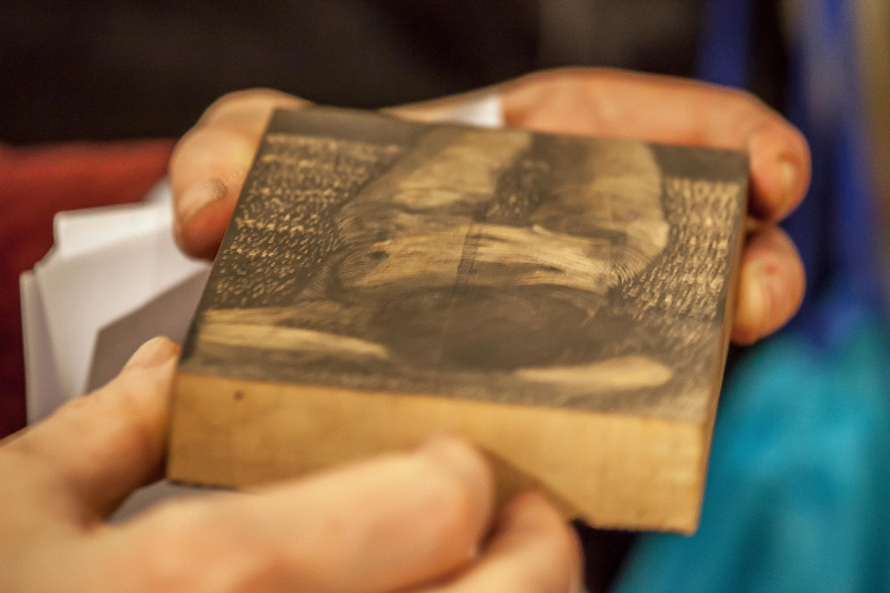 wood engraving block, preprint
