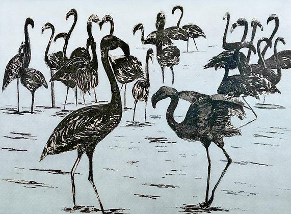 Ink Flamingos Card