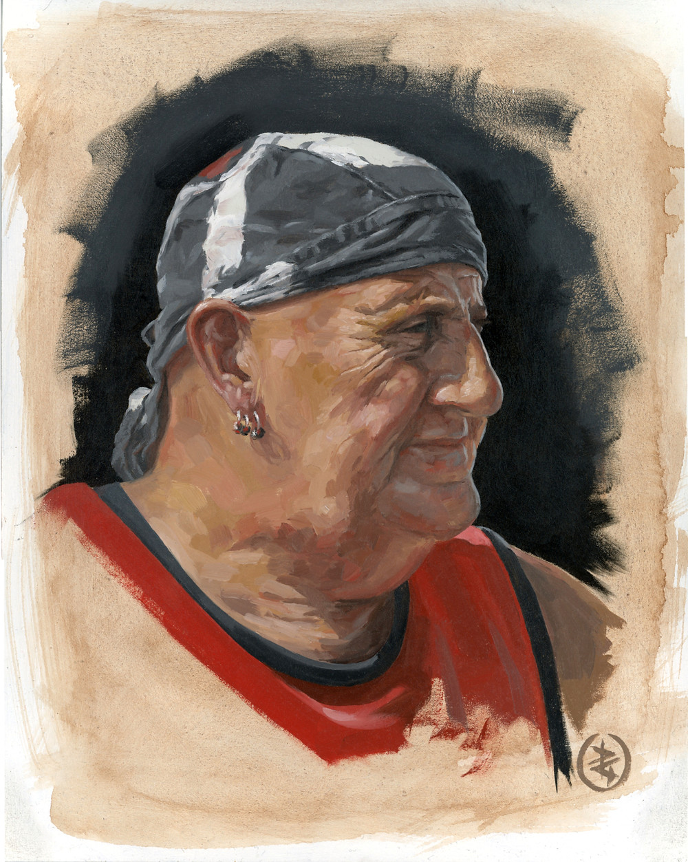 Oil painting by Pete Underhill of man with earring and bandana titled Ken