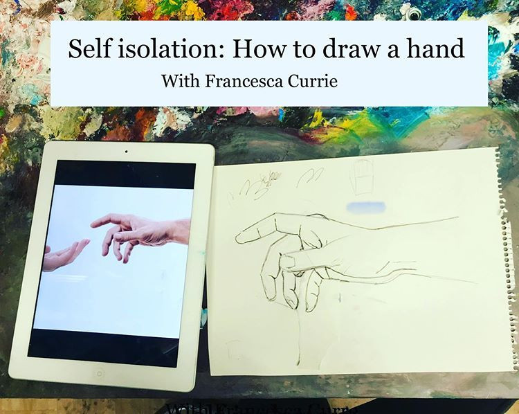 ipad and paper showing how to draw a hand