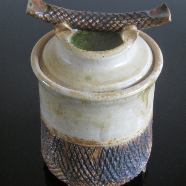 Thrown Lidded Vessel with Glass Decoration