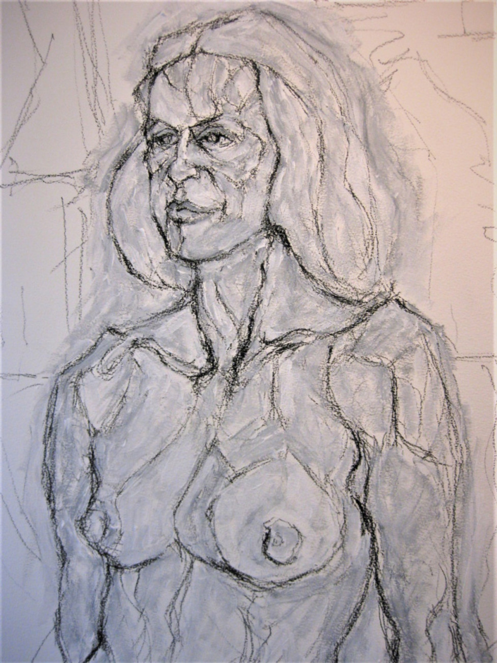 painted drawing of torso