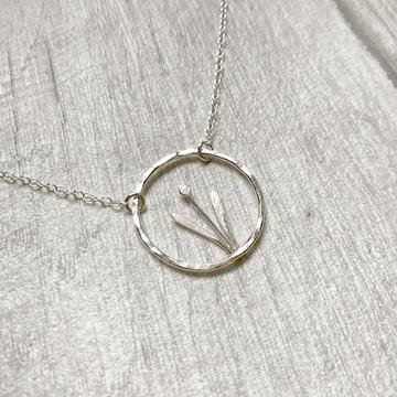 Silver Spring Flower Bud in Circle Necklace