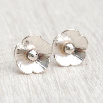 Silver Flower on Silver Circle Stud
