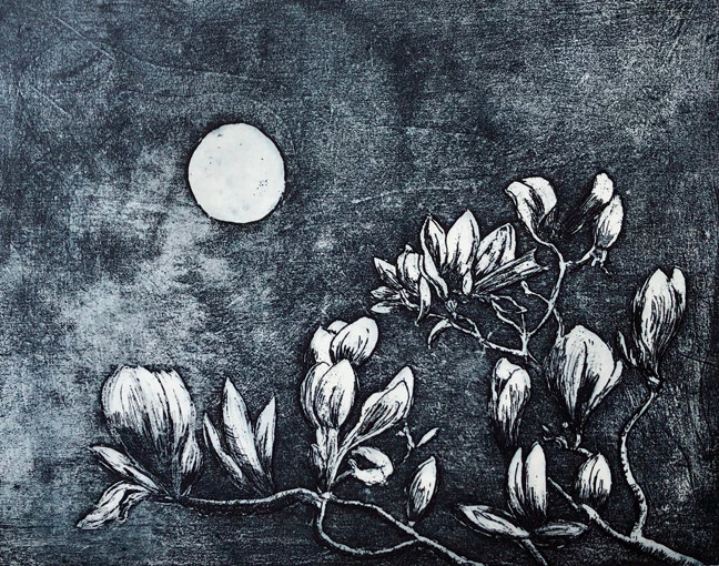 etching of magnolia tree and a full moon