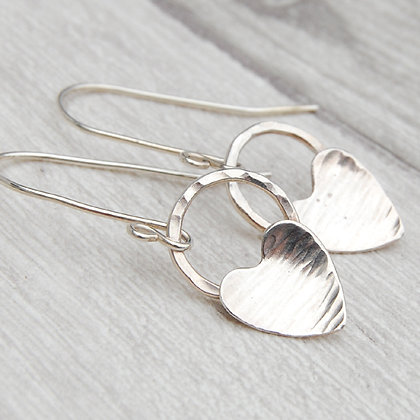 Silver Hearts on Circles Earrings