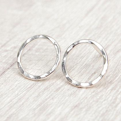 Open Circle Silver Stud Earrings