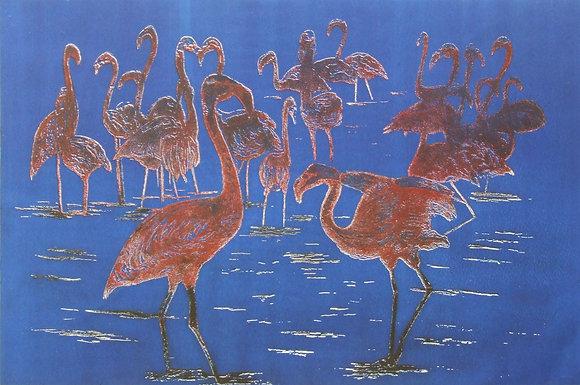 Blue Ink Flamingos Card