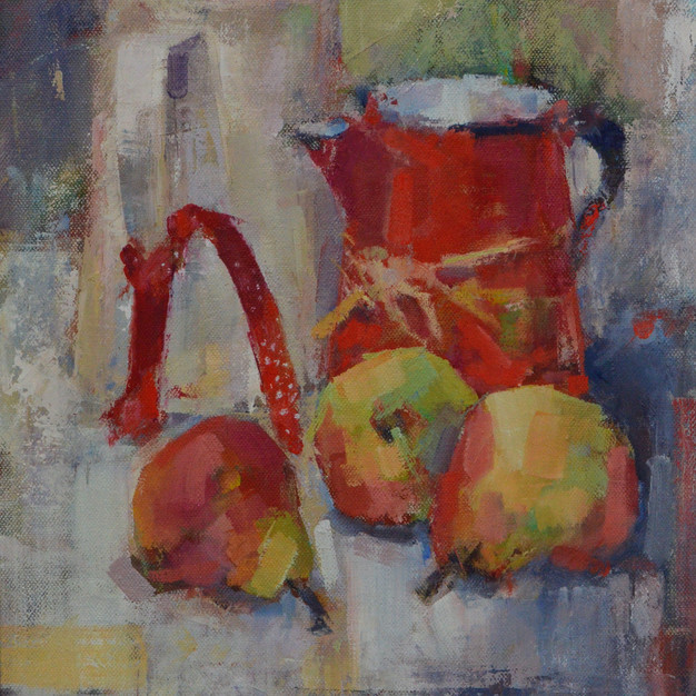 White jug with red ribbon