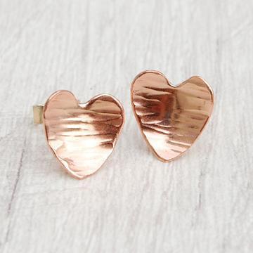 Copper Heart Stud Earrings