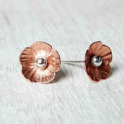 Copper Flower Stud Earrings