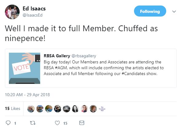 Ed Isaacs on Twitter_ _Well I made it to full Member. Chuffed as ninepence!… _