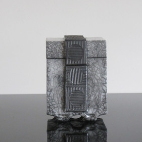 Lidded Box, Grey/White