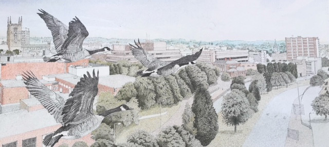 Sketch of Wolverhampton with geese flying