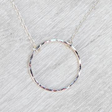 Single Hammered Silver Circle Necklace