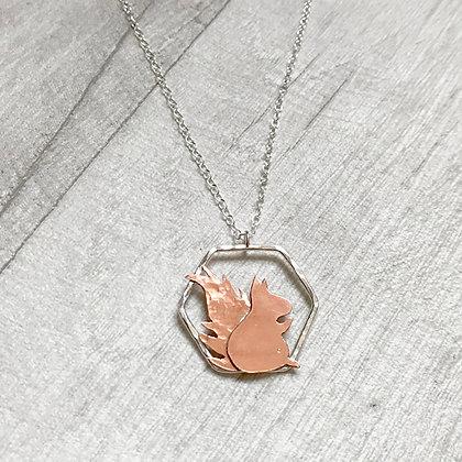 Copper Squirrel and Silver Necklace