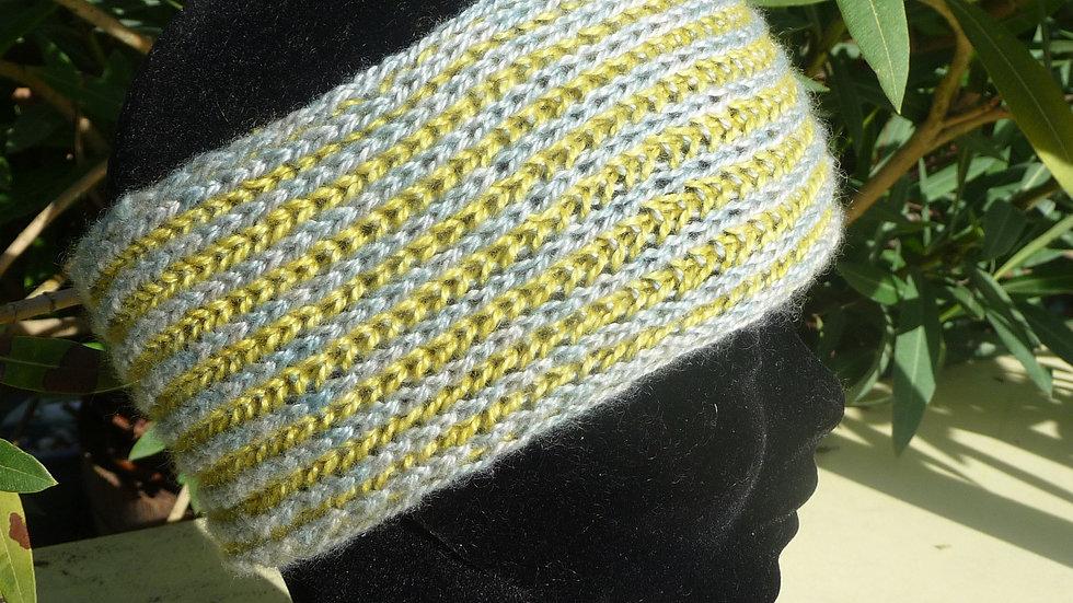 Bandeau Cachemire réversible bleu ou jaune tricoté