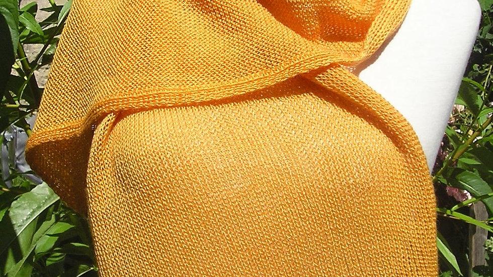 Echarpe Cachemire orangée/bouts framboise tricotée