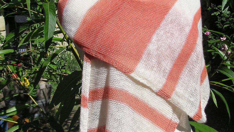 Echarpe Cachemire écrue / saumon tricotée