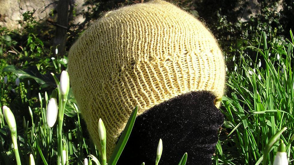 Bonnet Cachemire jaune tricoté