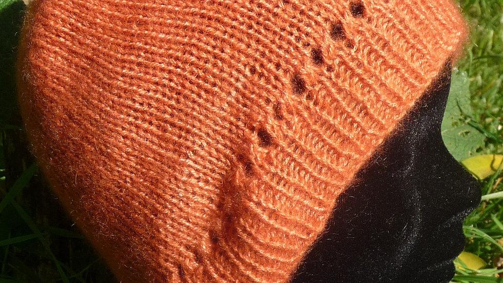 Bonnet Cachemire orange tricoté