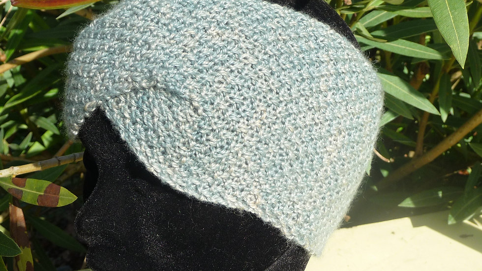 Bandeau Cachemire bleu tricoté