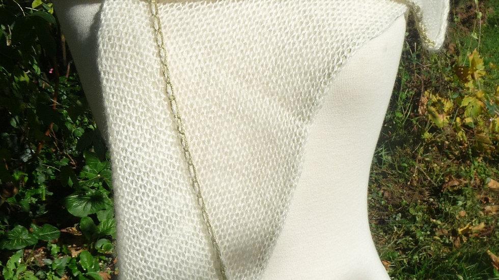 Echarpe Cachemire écrue bordure verte tricotée