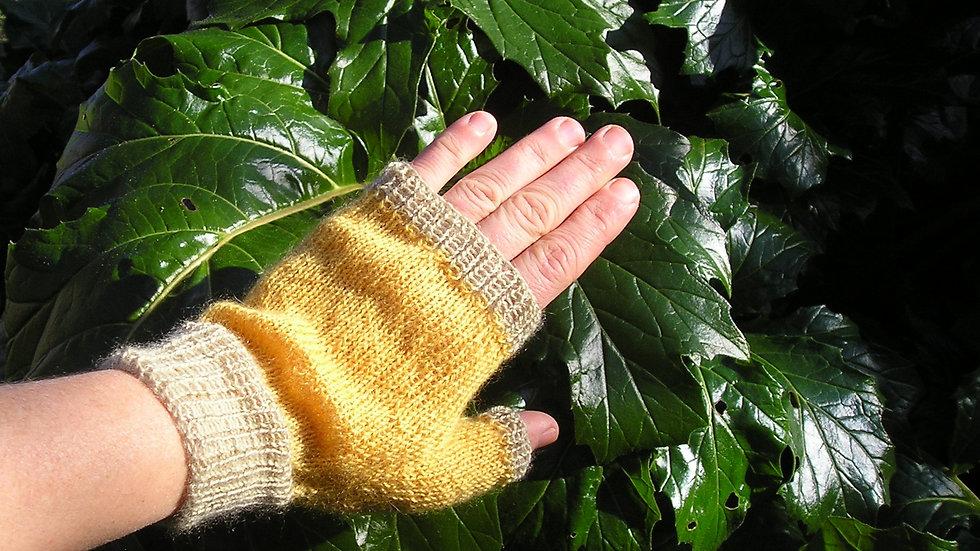 Mitaines Cachemire jaune et vert tricotées