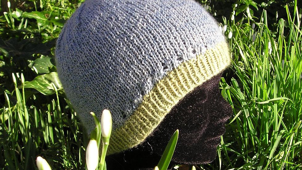 Bonnet Cachemire bleu et vert tricoté