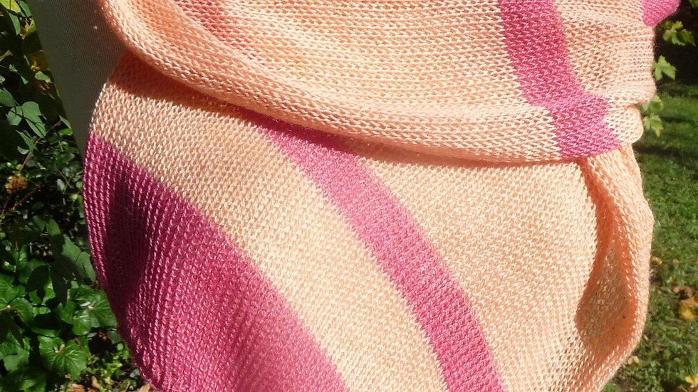 Echarpe Cachemire roses tricotée