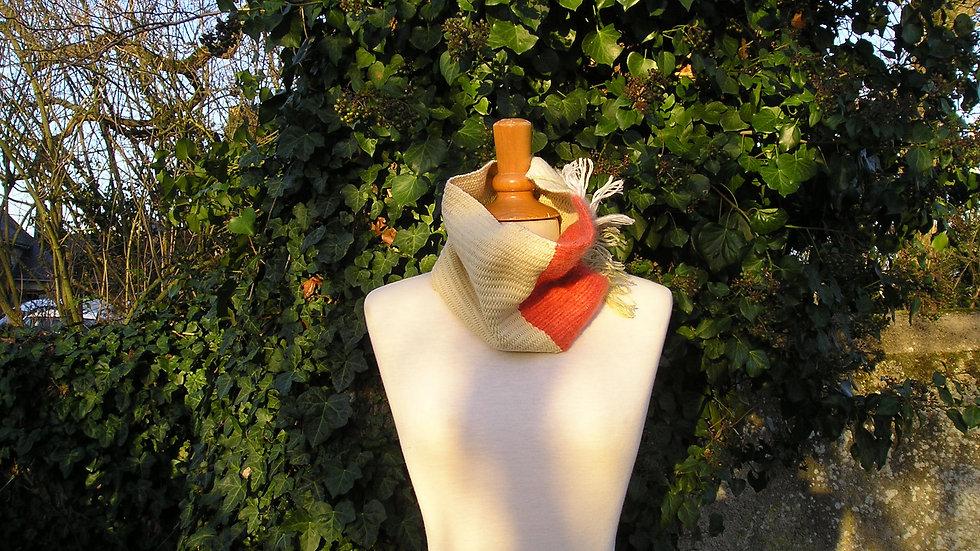 Col  jaune et orange tissé coton bio, mohair, lin