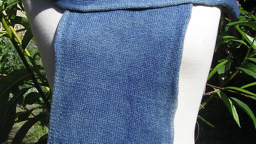 Echarpe Cachemire bleue tricotée 92gr