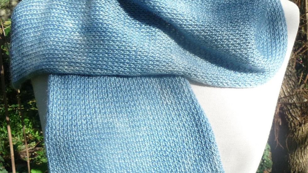 Echarpe Cachemire bleue tricoté 65 gr