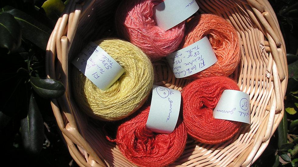 Fil fin 100% Cachemire - taille aiguilles 2,5 - rouge -orangé-rose-jaune