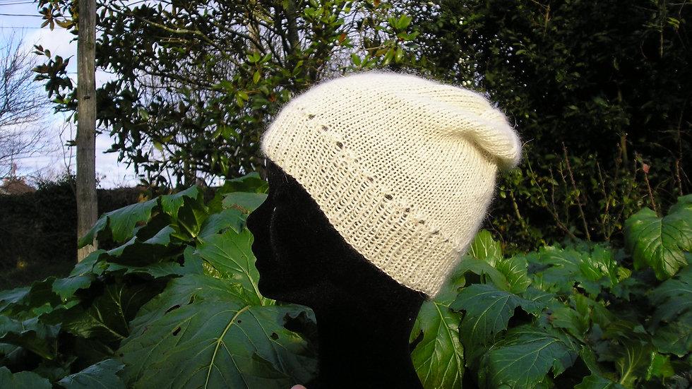 Bonnet Cachemire écru tricoté