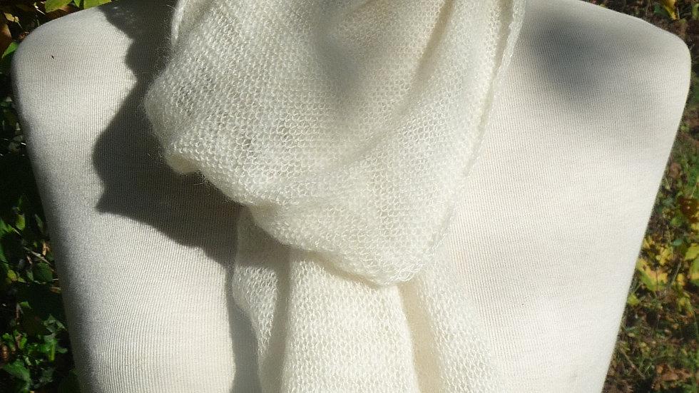 Echarpe Cachemire écrue tricotée 47 gr
