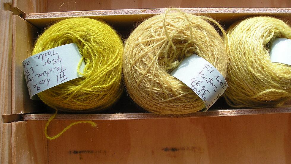 Fil fin 100% Cachemire -taille aiguilles 2,5 - jaune