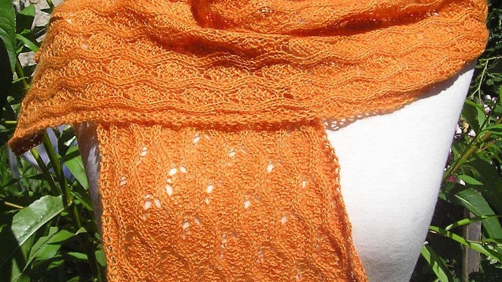 Echarpe Cachemire orange tricotée
