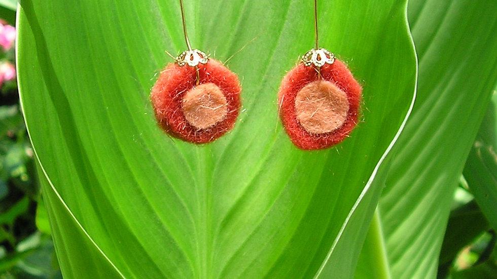 Boucles d'oreilles cachemire rondes rouge et saumon