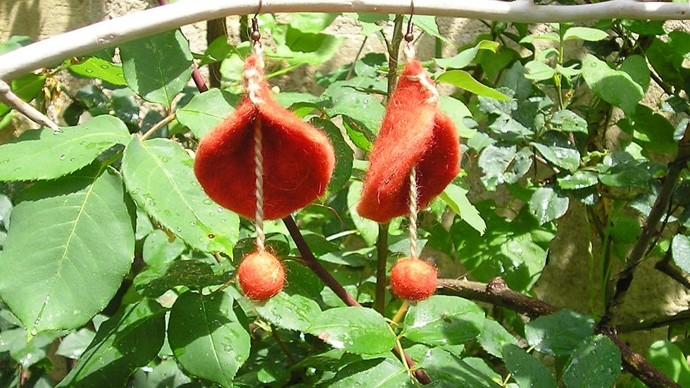 Boucles d'oreilles cachemire rouge