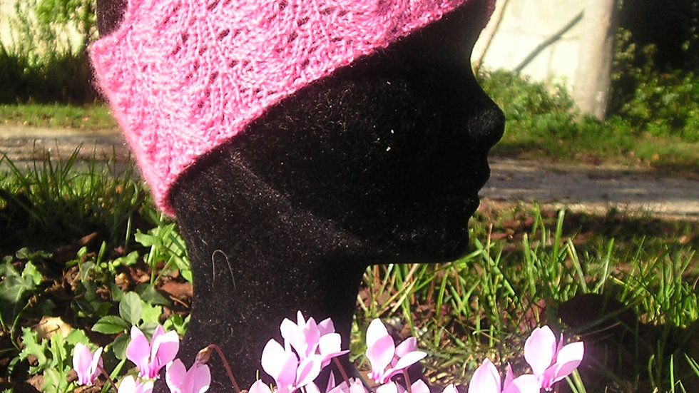 Bandeau Cachemire échancré framboise tricoté