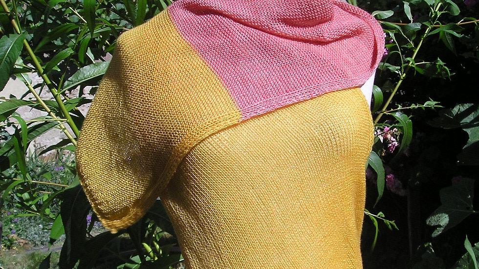 Echarpe Cachemire framboise/ orangée tricotée