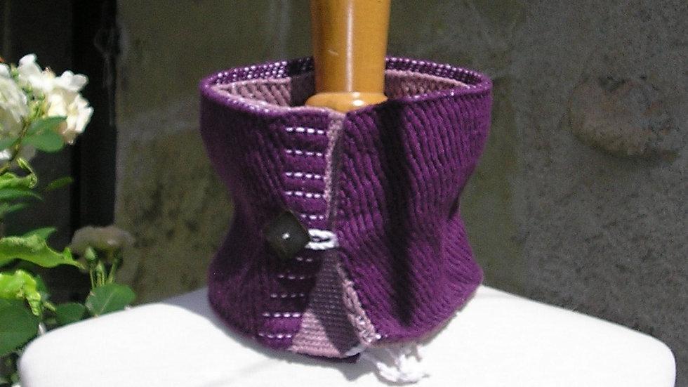 Col tissé violet réversible coton, mérinos