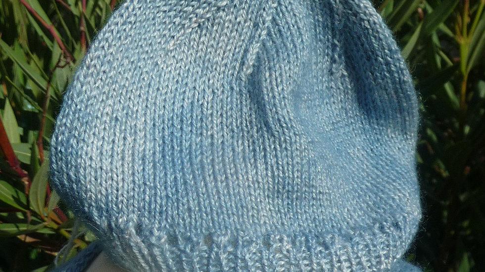 Bonnet Cachemire  bleu bébé 0/6 mois