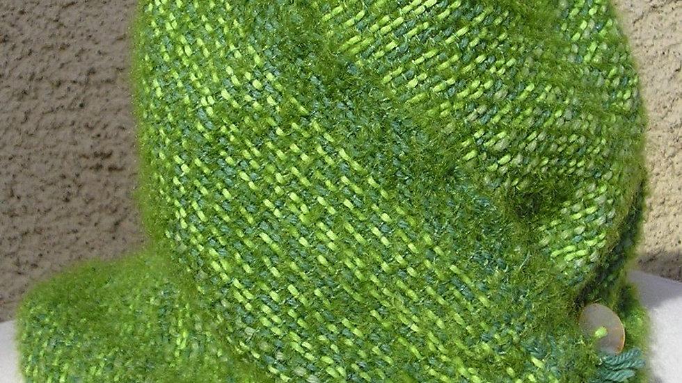 Col vert tissé coton bio, mohair, alpaga