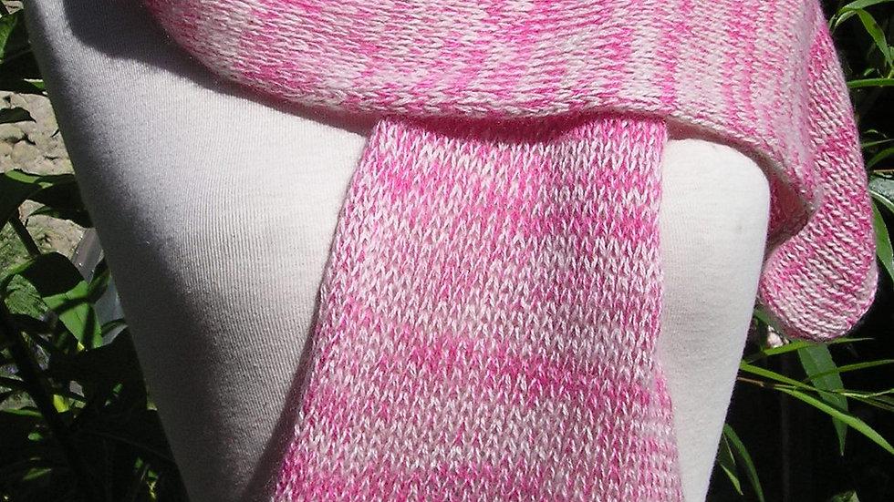 Echarpe Cachemire rose tricoté