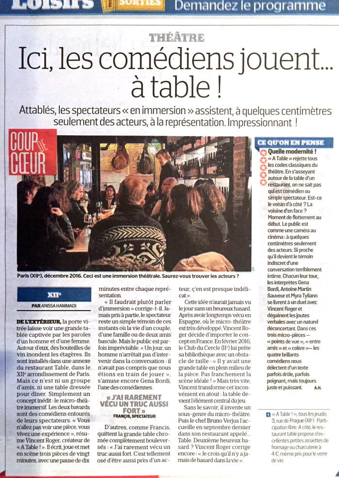 Coup de coeur 5 étoiles Le Parisien 20/02