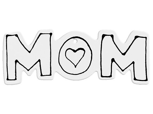 Hand Detailed Mom Word Ornament